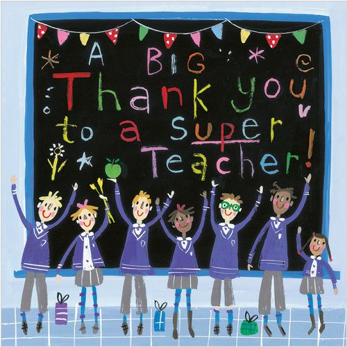 """CODE: S259 NAME: SUPER TEACHER PRICE: £1.75 Buy now: https://www.phoenix-trading.co.uk/web/km43704/area/shop-online/category/thank-you/product/S259/super-teacher/ Presentation: With a white 100 gsm, 100% recycled, envelope. Blank for your own message Paper Type: Gloss Varnish Artist: Kate Gunn Size: 5 x 5"""" 