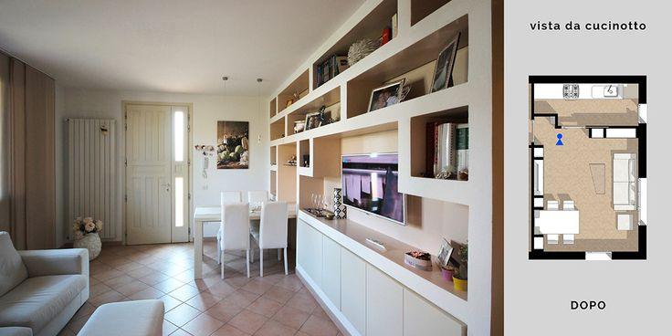 Arredare il soggiorno con cartongesso e legno in un disegno su misura di pareti contenitive espressive che contengono funzioni, luci e risolvono lo spazio.