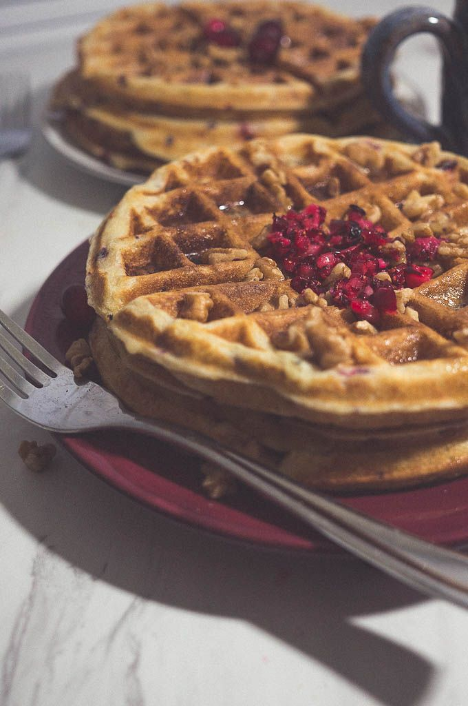 Cranberry Buttermilk Waffles. Pair these delicious fluffy waffles with the #perfectcoffeeathome for a cozy holiday morning.