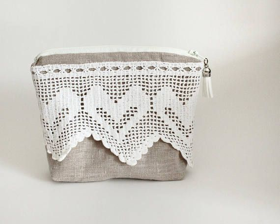 Makeup Bag With Vintage Crochet Lace and Tassel Bridesmaid