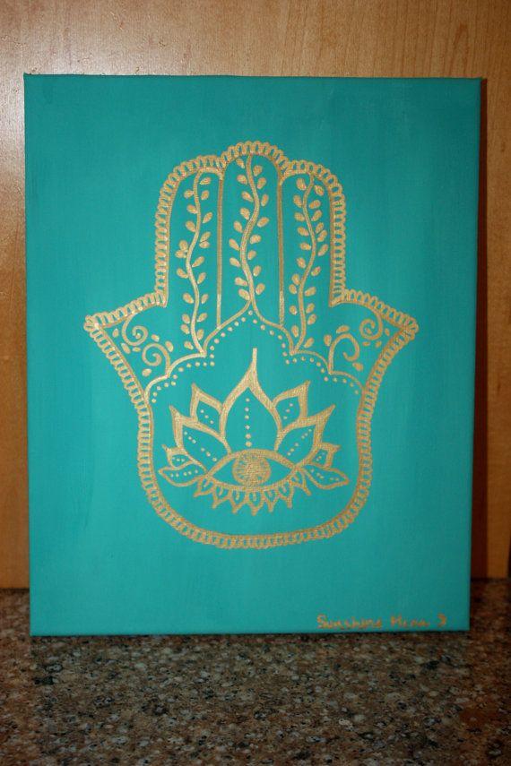 Turquoise Hamsa Painting Reiki Infused Spiritual by myhealingroots