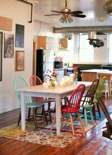 Apartment therapy shows how to Paint same chairs in different colors to make your dinning more cheerful