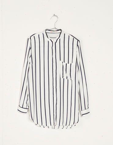 Camisa larga Bershka estampado rayas - Bershka - Bershka México