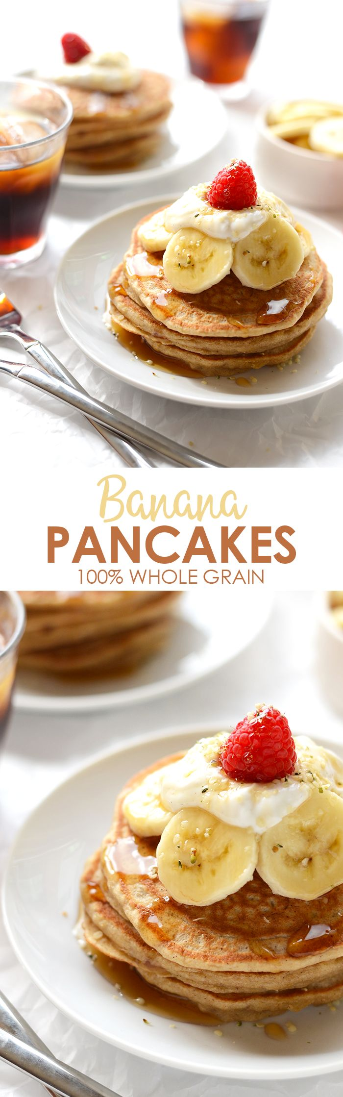 Start your morning with a stack of 100% whole-grain, no sugar-added banana pancakes made with real ingredients. Don't forget to top them with fresh fruit and Greek yogurt!
