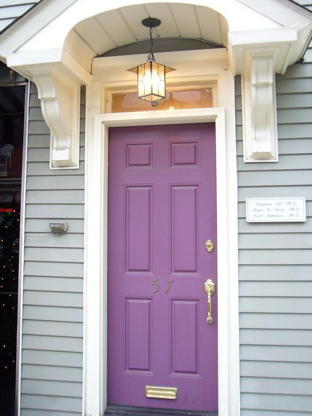 Charming Front Door Color Idea: Soft Purple