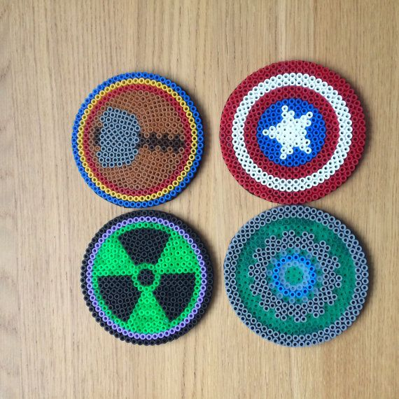 Hama Bead Marvel Coasters with felt backs. Designs include Captain America, Iron Man, Hulk and Thor Only ships to the United Kingdom If you would