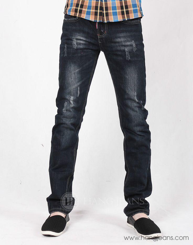 Hằng Jeans - Quần jeans nam đen mài xước 15T1211 Giá bán: 389k