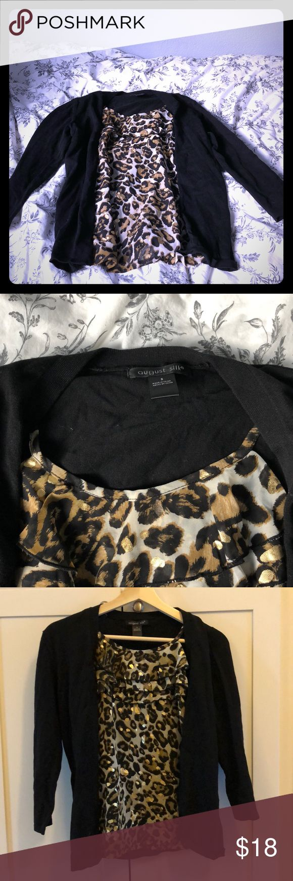Unique cardigan with Built in sheer cami Barely Worn in great condition. Has built in Animal print cami! august silk Tops