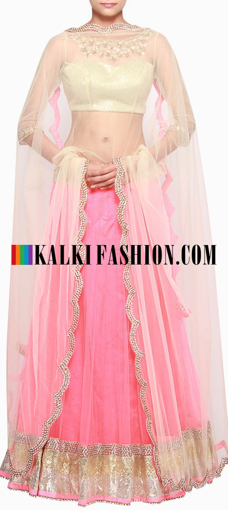 Buy Online from the link below. We ship worldwide (Free Shipping over US$100) http://www.kalkifashion.com/pink-lehenga-embellished-in-stone-embroidery-only-on-kalki.html