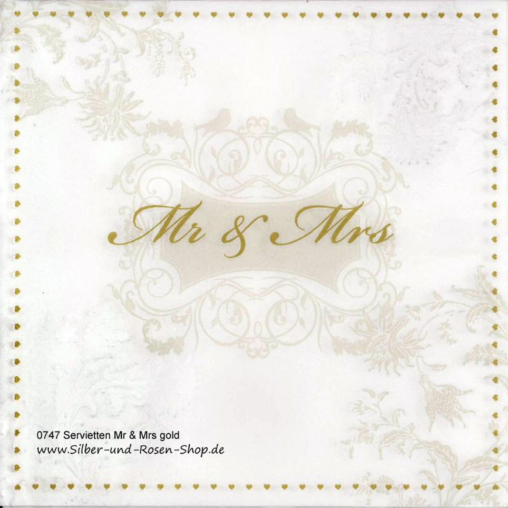 16 Papierservietten gold Mr & Mrs