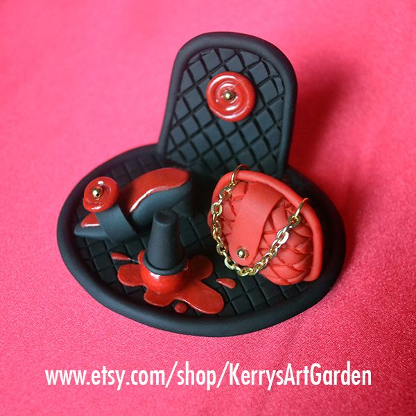 Red Quilted Purse, Shoe & Nail Polish Polymer Clay Business Card Holder $30 www.etsy.com/shop/KerrysArtGarden