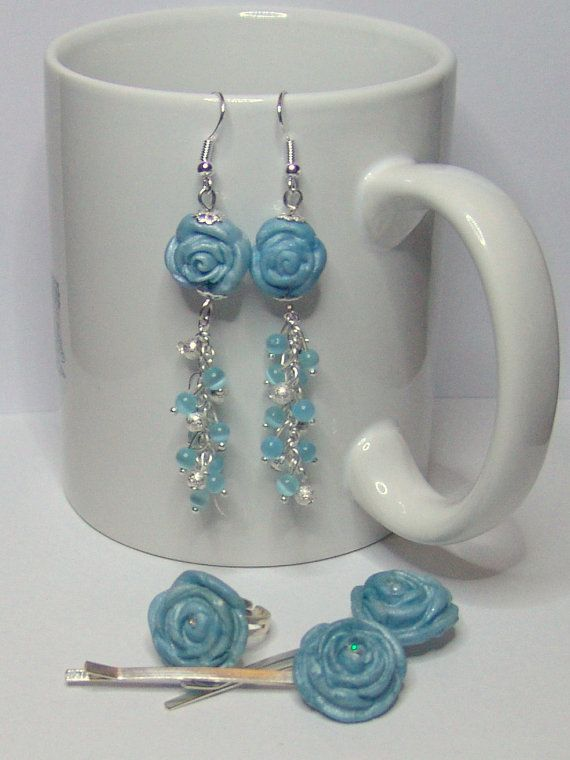 BLUE SKY  Earrings Hairpins Ring by 1000and1 on Etsy, €12.00