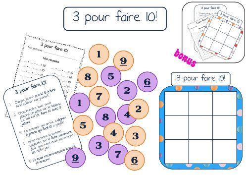 but du jeu: aligner trois nombres dont la somme est égale à 10. Bonus: le même jeu mais pour une somme égale à 15!