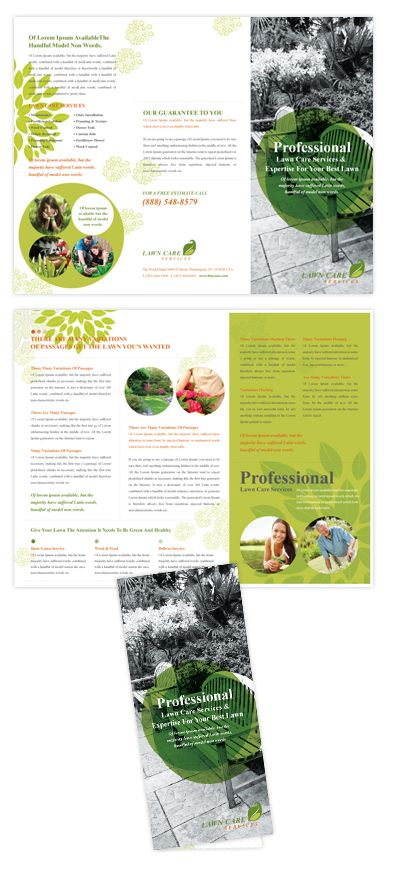 Lawn Care Services Tri Fold Brochure Template Lawn care services tri fold brochure template will be a good choice for presentations on lawn care services. Find tri fold brochure templates - download, edit & print! SKU : TF090154LT Page Size : 8.5in x 11in Fold Type : Tri Fold Purchase Includes : Artwork, Images & Fonts Software Requirement : Adobe Illustrator CS5 http://dlayouts.com/13-All-Items/638-Lawn-Care-Services-Tri-Fold-Brochure-Template/flypage.tpl.html