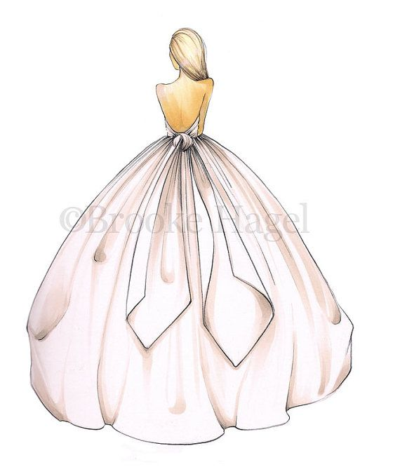 Bridal Fashion Illustration-Bridal Sketch-Bride por BrooklitBride