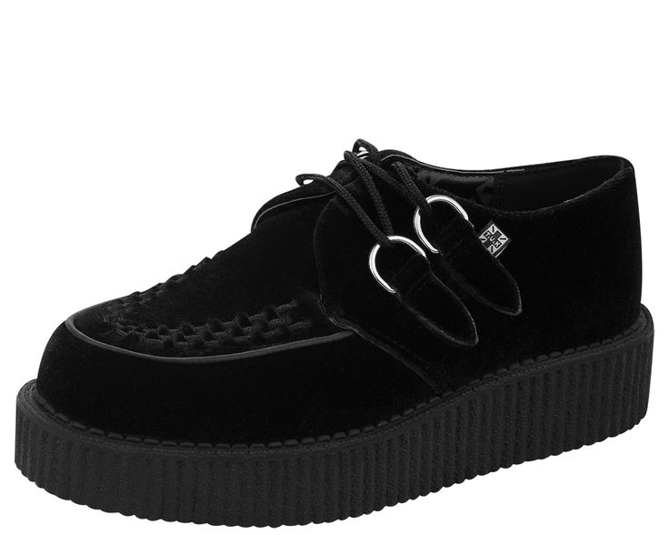 Black Velvet Round Toe Low Creeper - T.U.K. Shoes | T.U.K. Shoes