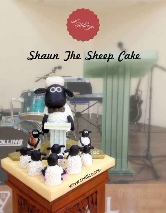3D Cake - Shaun The Sheep Cake. #3dcake #cake #ediblecake #sculptedcake #noveltycake #birthdaycake #kidsbirthday #sugarart -- Like and Follow us #melicobali (Instagram) || www.melico.me