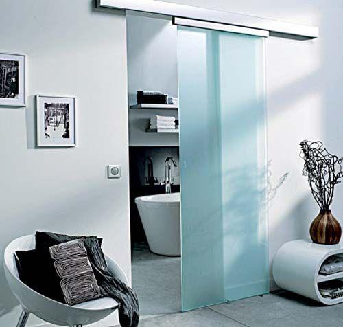 porte coulissante en verre en applique de chez Castorama