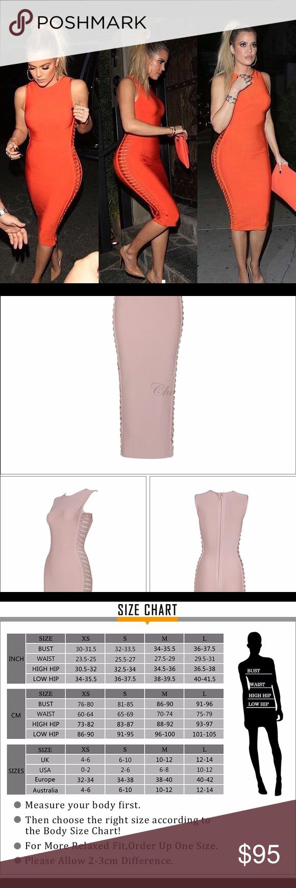 Khloe Kardashian bandage bodycon dress- nude Size MEDIUM!! Khloe Kardashian bandage bodycon dress with lower split at the back. The color is nude/khaki. Never worn. Dresses