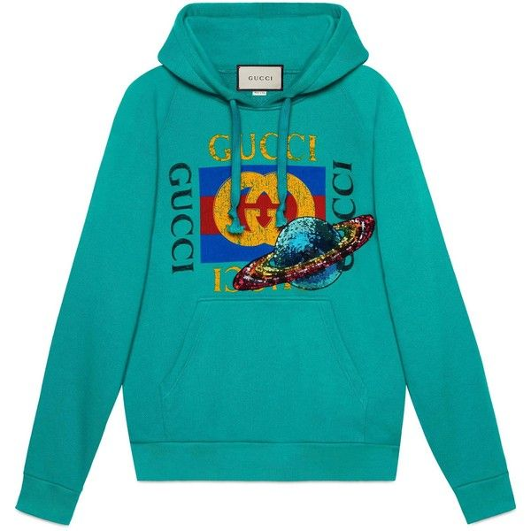 fe6d88684a62 Gucci Logo Hooded Sweatshirt With Planet ($1,300) ❤ liked on Polyvore  featuring tops, hoodies, teal, blue hoodie, sequin top, oversized hooded  sweatshirt, ...