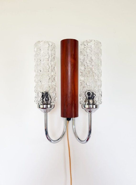 Vintage Wall Lights With Glass Sconces 60 S Danish Teak Mounted Textured Glass Wall Lamp Mid Century Light Retro Wood Wall Decor Vintage Wall Lights Glass Texture Wall Lights