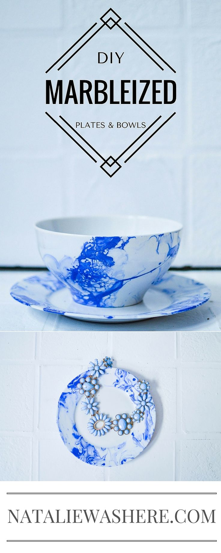 You won't believe how easy these marble plates and bowls are to make! #DIY   www.nataliewashere.com