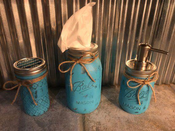 Yellow Vanity Organizer Soap Pump Vase 4 Piece Mason Jar Bathroom Accessory Set