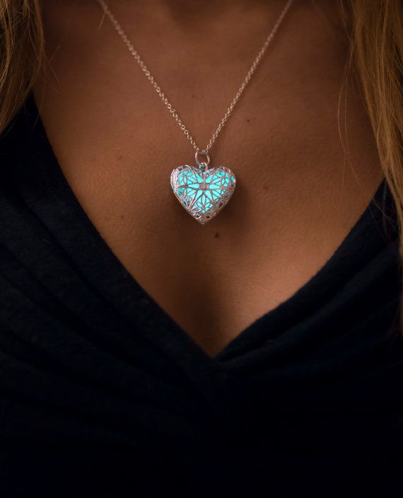 Heart of the Frozen Sea - Glowing Jewelry - Glowing Heart Pendant - Glowing Necklace - Gifts for Her - Glow in the Dark - Valentine Gifts