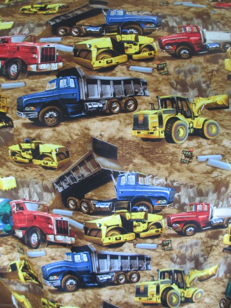 Earth Moving Equipment Fabric - Timeless Treasures - C9813 - Dump Trucks, Cement Trucks by QuiltsFabricandmore on Etsy