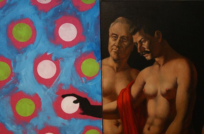 "Vitaly Komar & Alexander Melamid's ""Yalta Conference: Judgment of Paris"" (detail)"
