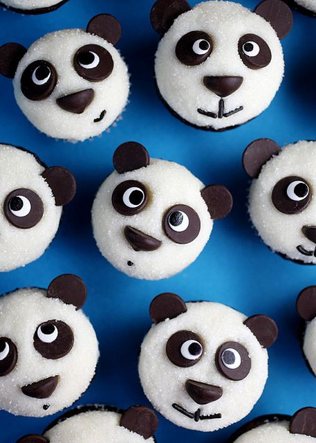 Panda Bear Cupcakes! Made with mini cupcakes dipped in sugar with chocolate