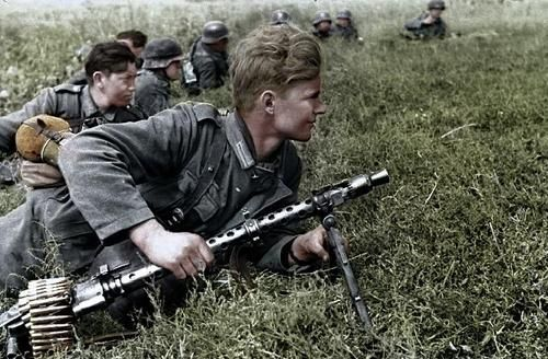 Children from the Hitler Youth serving in the German Army at the last stages of WW2.  As Germany suffered more casualties, more teenagers volunteered & were accepted, initially as reserve troops but then as regulars. The German ethic of the boy soldier not only encouraged such service but towards the end of the war, the Germans even drafted boys as young as 12 into military service. They saw extensive action & were among the fiercest & effective German defenders in the Battle of Berlin