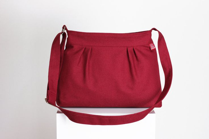 $33  Maroon Bag Small Bag Pleated Zipper Closed Safe Canvas Bag Shoulder bag Crossbody Bag Women Accessories Handmade Gift For Her Long Strap by hippirhino