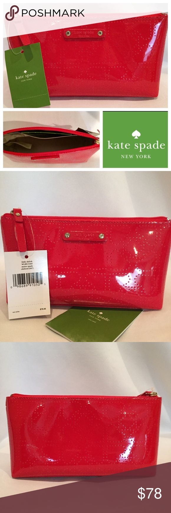"☘️FINAL⬇️ KATE SPADE Red Shiloh Cosmetic Bag NWT KATE SPADE Red Patent Metro Spade Little Shiloh Cosmetic Bag Pouch New With Tags  Retail Price: $78.00  Color: Chili Red  Exterior Features Subtle Laser Perforated Signature Spade Pattern & Logo Plaque Interior Features Solid Nylon Lining & One Slip Pocket Gold Tone Hardware  Measures Approximately 7"" (L) x 4"" (H) x 2"" (D) Zip Top Closure  Includes Care Card  🎁 Great Gift Idea! 🎁 Smoke Free Home  💯 Authentic kate spade Bags Cosmetic Bags…"