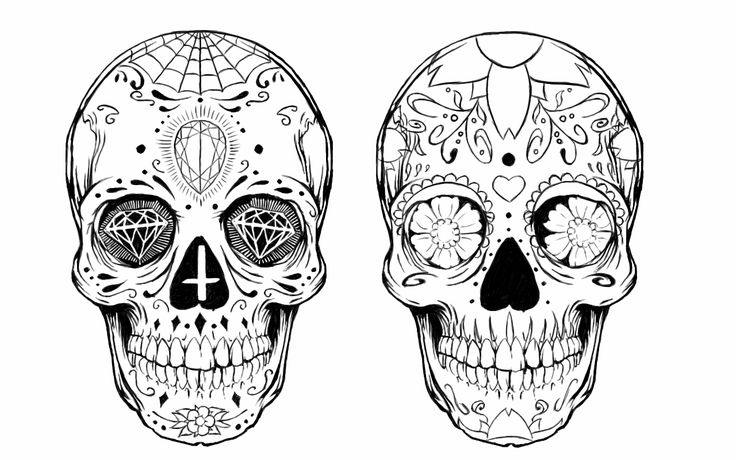 Sugar skull tattoo design by alxpalm.deviantart.com on @DeviantArt