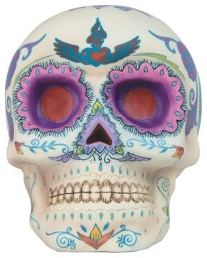 6.25 Inch Day of the Dead Decorated Traditional Sugar Skull Figurine - mediterranean - Holiday Decorations - StealStreet