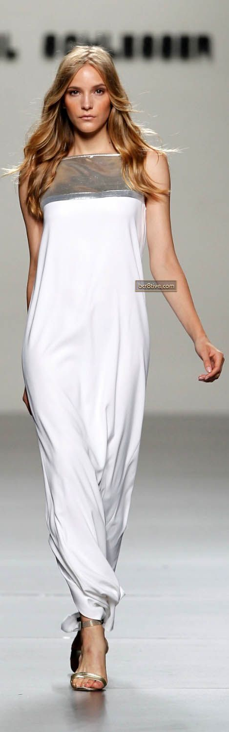 (Angel Schlesser SS 2012) - Keep the focus away from the stomach area by playing with detail on the neck/cleavage line