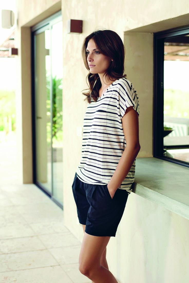 soyaconcept - top - blouse - t-shirt - shorts - strips - blackandwhite