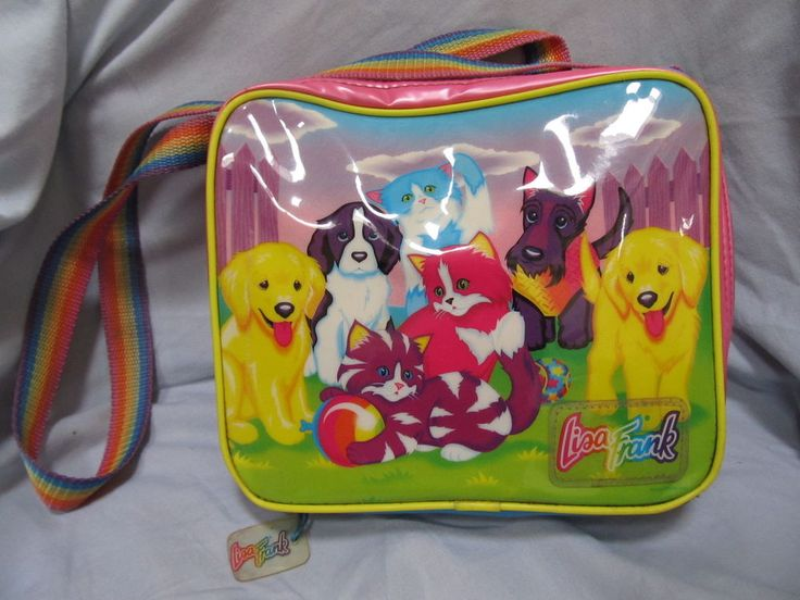 Vintage Lisa Frank Lunch Box Puppies Kittens Lunch Bag Insulated Cooler Vinyl // HAD THIS DESIGN ON AN AWESOMAZING BACKPACK, STILL HAVE ON A PENCIL POUCH.