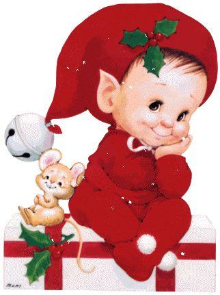 CHRISTMAS BABY ELF AND MOUSE GIF