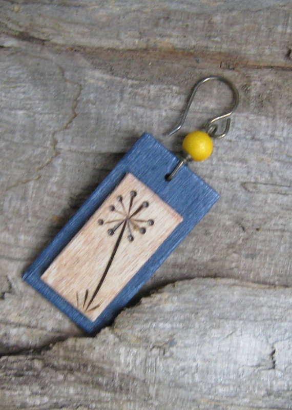 WoodBurned Earrings Dandelion Bloom by BirchandBlooms on Etsy, $20.00