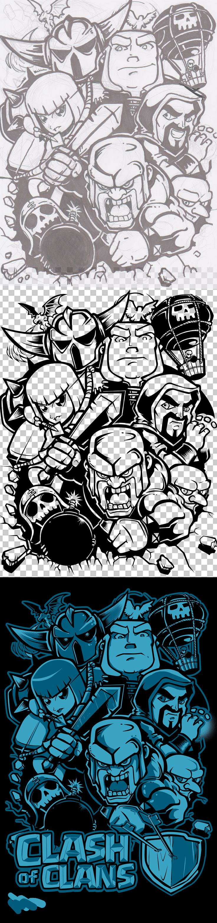 Clash of Clan design i did whid two shades of blue on black back ground
