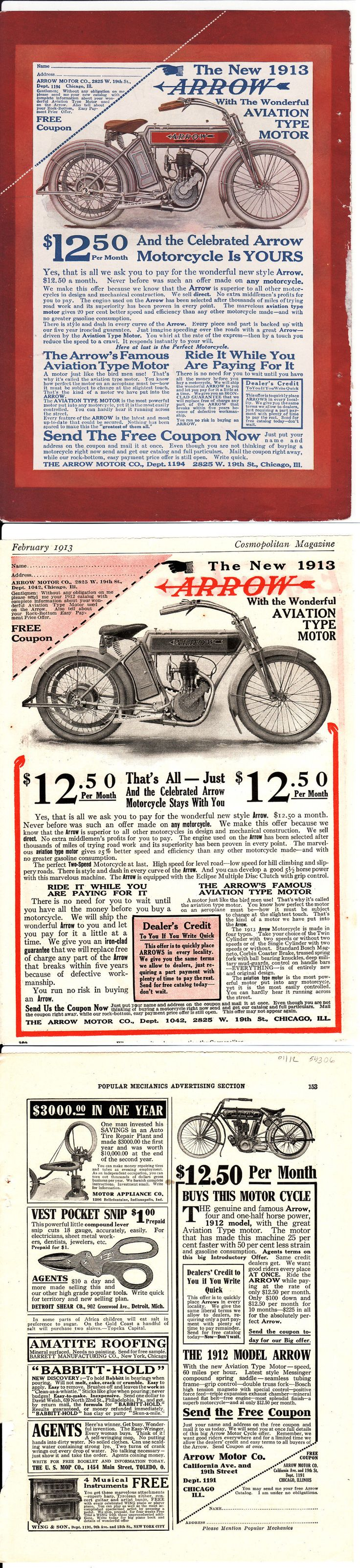 Motorcycles: 1913 Arrow Antique Motorcycle Advertising BUY IT NOW ONLY: $20.0