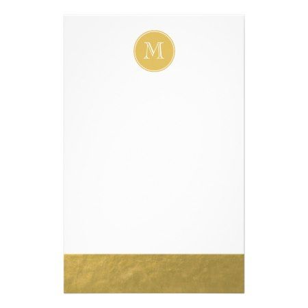 Glamour Gold Foil Background Monogram Stationery - click to get yours right now!