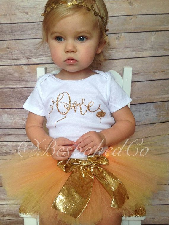 Fall first birthday outfit /Gold one birthday outfit by BespokedCo