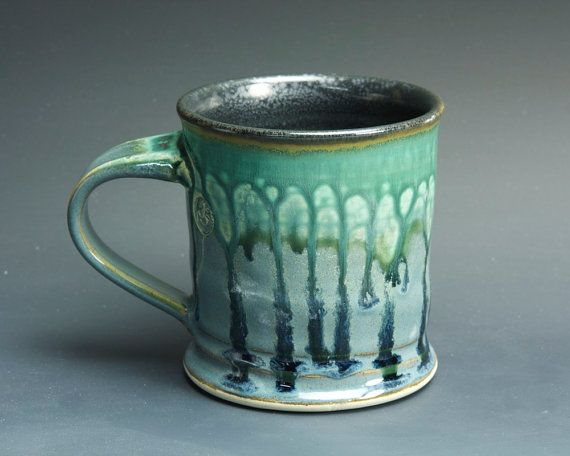 Handmade white stoneware coffee mug teacup by BlueParrotPots
