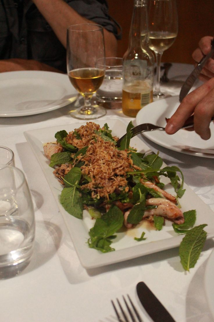 seared squid with asian greens, crispy shallots and Nahn Jim