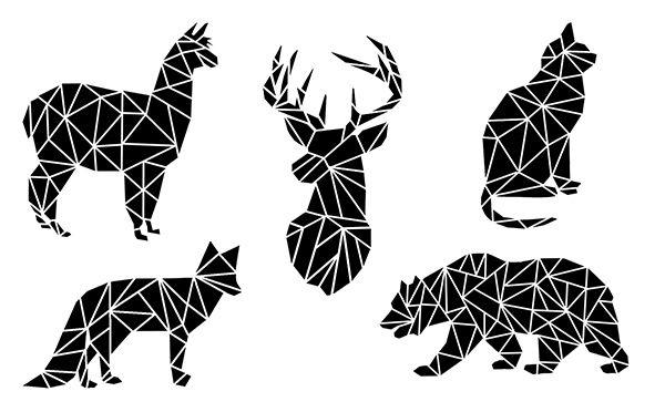 Geometric Animal Silhouettes With Kaleidoscope Htv Geometric Animals Animal Silhouette Animal Stencil