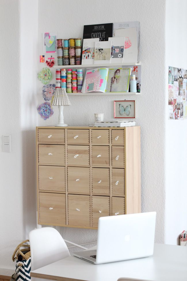 Craft Storage on IKEA RIBBA Ledges photo: holly becker