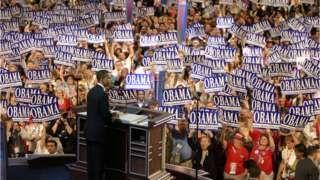 Image copyright                  AFP Image caption                                      Barack Obama durante la Convención Demócrata de 2004, en la que endosó a John Kerry.                                Hace 12 años, un Barack Obama desconocido para la mayoría de los estadounidenses subió al podio de la Convención Demócrata en Boston para pronunciar el discurso central. Obama era entonces solo un candidato a senador de Estados Unidos